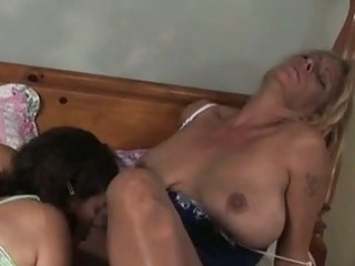 mature golden-haired with huge bosom receives her