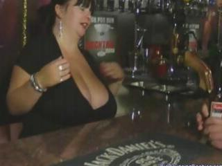 obese british older barmaid with biggest