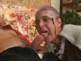 granny becomes crazy when man drills her fleshy