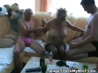 old golden-haired amateur granny is in a trio