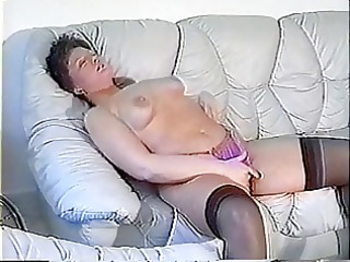 overweight woman plays with her fur pie