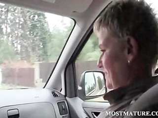 Mature sexy hitchhiker giving blowjob to lucky