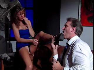 hawt dark brown secretary play sexy foot fetish