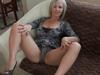 handsome blonde momma in hose does striptease