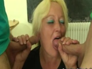 plump granny teacher fucked all over the class