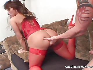 huge titted asian pornstar in hot red underware