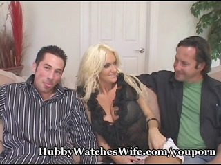 cougar wife fucks youthful stud as hubby watches