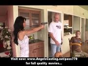 naughty dark brown milf with a gun does oral-sex