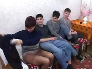 Russian mom fuck son & his friends