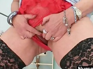 large tits redhead lady dildoying shaggy pussy