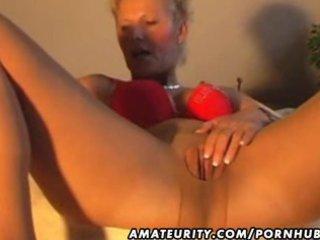 amateur mother i masturbates, sucks and fucks