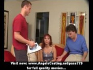 redhead milf as bride does oral sex for big guy