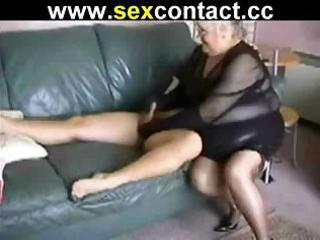 Big old granny sucks on a cock and then sits on