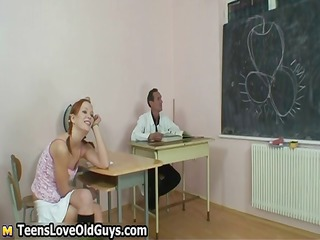 sexually excited old teacher spanks his cute part1