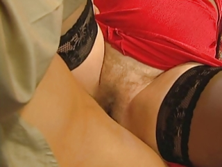 grandmas hairy cum-hole is open for her young