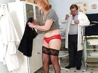 redhead granny dirty muff stretching in gyn clini