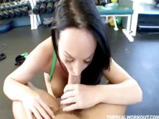 breathtaking wife riding her fitness tutor