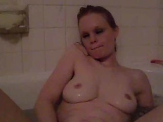 slutty single mommy playing in the bathtub