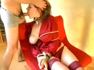 my buxom wife tied and face drilled