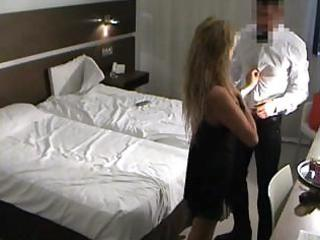 Spy milf fucks room service guy