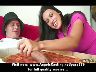 sexy bored dark brown does irrumation for pizza