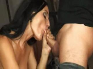 Sexy brunette italian milf munches on his cock