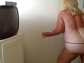 hot blond granny dances nice in front webcam