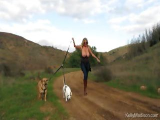 large titted milf enjoys hiking in nature
