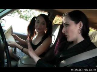 sexy mommy and daughter talked into fucking