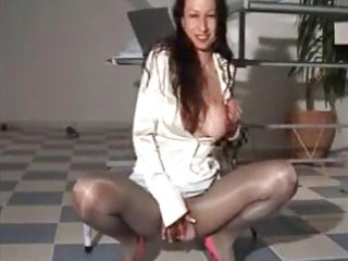 Piss satin  milf in hot shiny dress
