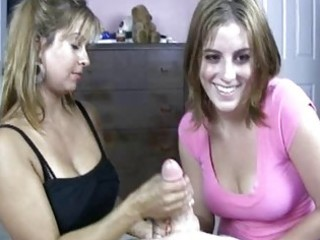 Blonde milf shows her daughter how to do handjob