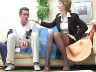 juvenile dude seduced by brunette milf and
