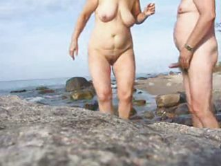 mature pair sex on the beach-wear-tweed