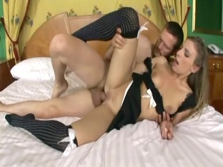 blond fucking in her maid uniform and nylons