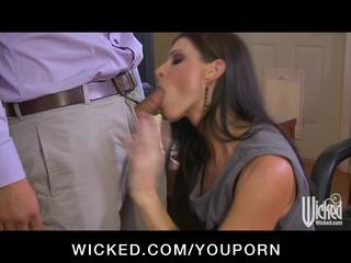 Hot horny MILF boss deepthroats employees dick in