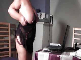 big beautiful woman mature in glasses rubbing