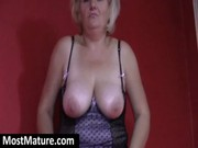 granny tease with her large mangos