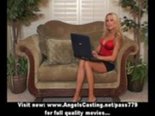 golden-haired milf with laptop toying cunt and
