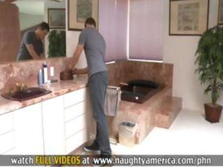 Redheaded milf sees sons friend peeping on her so