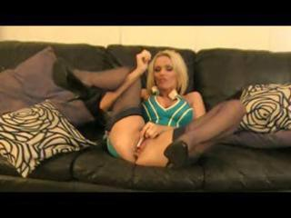 blond british milf gets some help as she toys her