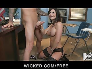 strict brunette teacher gives punishes her