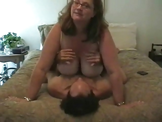 Wife with incredibly huge boobs sucks the dick