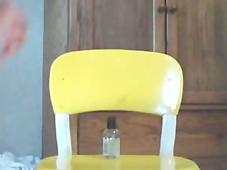 girl masturbate on yellow chair