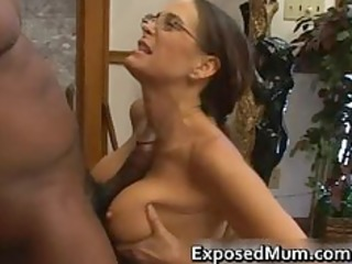 sexy milf in glasses deepthroating black part1