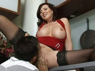 Amazing busty brunette milf getting her cunt